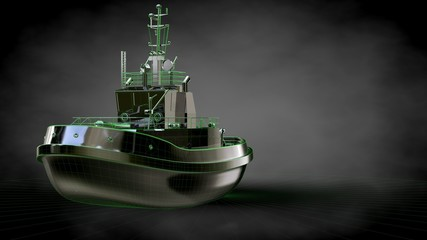 3d rendering of a reflective ship with green outlined lines as blueprint on dark background