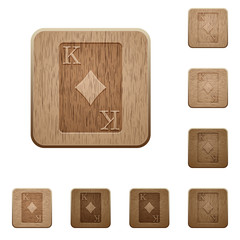 King of diamonds card wooden buttons