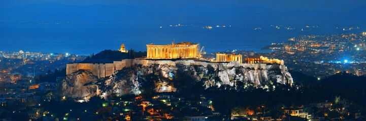 Poster Athens Athens skyline with Acropolis night