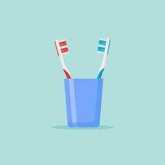 Toothbrushes in glass isolated on background. Flat style vector illustration.
