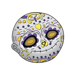 Emoji Smile Dead. Dia de Los Muertos. Day of The Dead Vector Illustration