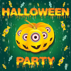 Halloween night background with pumpkin and minions. Flyer or invitation template for Halloween party