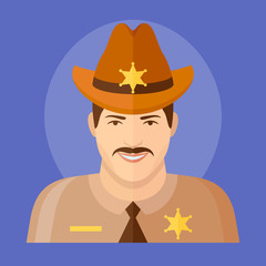 Sheriff flat icon on blue background. Male character vector illustration.