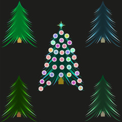 Picture of a group of flat Christmas tree icons. Christmas tree with Christmas decorations