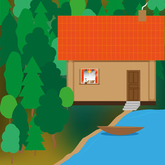 Flat picture of a house located in the forest near the lake