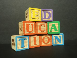 Toy wooden blocks spell out education on black background