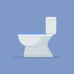 Toilet bowl flat style icon on blue background. Vector illustration.