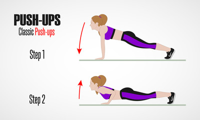 Sport exercises. Exercises with free weight. Pushups. Illustration of an active lifestyle.