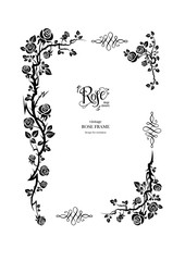 Rose floral black frame