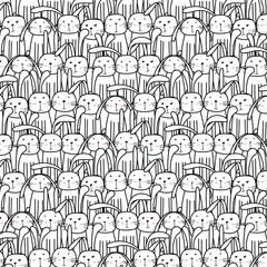 Hand Drawn Cute Bunnies Pattern, Doodle Art.