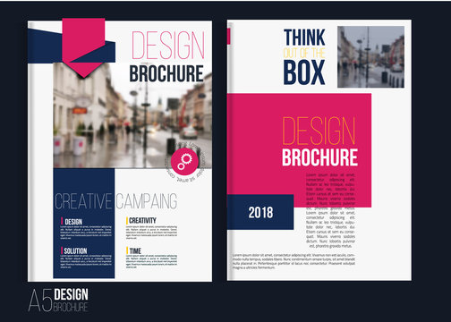 Vector red brochure cover templates with blured city landscape.