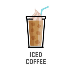 Cold coffee drink flat design icon. Iced coffee cup isolated