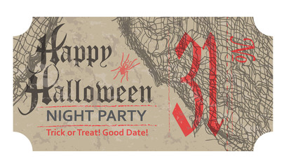 Halloween ticket for party, 31 october, vintage style