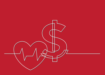 one line drawing of isolated vector object - health care cost with heart and dollar