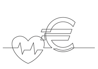 one line drawing of isolated vector object - health care cost with heart and euro