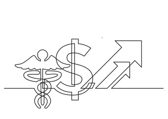 one line drawing of isolated vector object - dollar sign and medical symbol with arrows