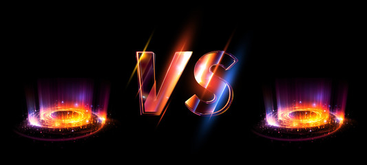 Glowing versus logo on black background. Illuminated comparison symbol.