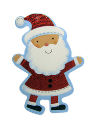 Santa Claus Christmas Decoration/Tag Isolated on White Background with Clipping Path