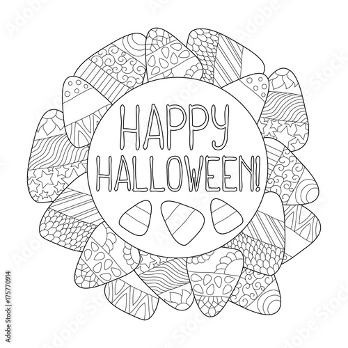 Candy Corn Vector Coloring Page Happy Halloween Greeting Card Frame