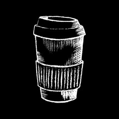 Coffee paper cup white chalk on black chalkboard vector illustration. Big paper coffee cup on blackboard.