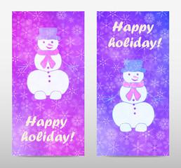 Set banner with snowmen