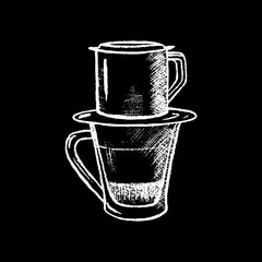 Coffee cup with filter white chalk on black chalkboard vector illustration.