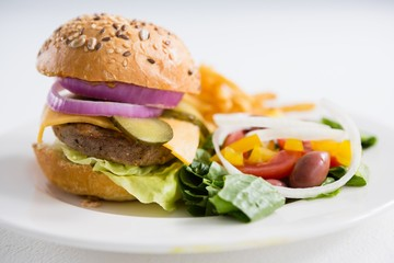 Close up of burger with salad in plate