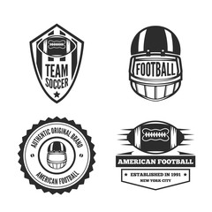 Set of vector logotypes elements, labels, badges and silhouettes for american football team