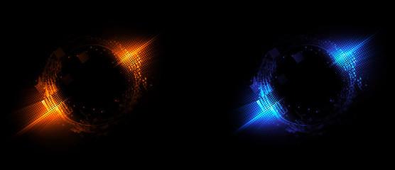 Versus round blue and red glow rays night scene. Light effect podium. .Disco club dance floor. Beam stage. Magic fantasy portal. Futuristic teleport.