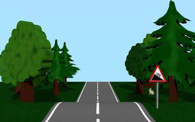 Landstraße mit Gefälle, Bäumen und Häschen