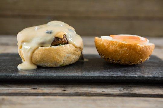 Cheeseburger on bun