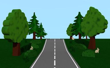 Landstraße mit dem Bäumen und Häschen
