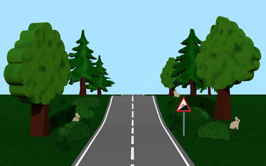 Landstraße mit dem Straßenschild Steigung, Bäumen und Häschen