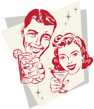 Smiling 1950s couple raising a toast with cocktail glasses