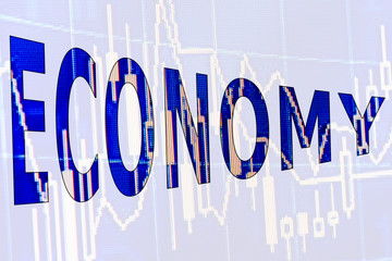 The word economy on a white background