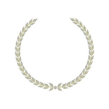 Vector silver Laurel wreath. Label winner, a symbol of victory, triumph and success on a black background. Vector