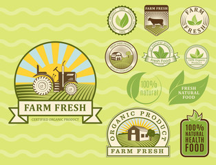 Bio farm organic eco healthy food templates and vintage vegan green color for restaurant menu or package badge vector illustration.