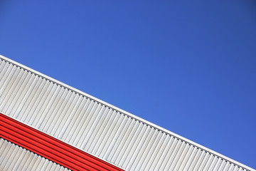 Sunny Sky at an Industrial Estate with colourful corrugated iron warehouses
