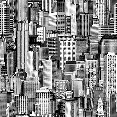 Skyscraper City Seamless Pattern (large) is hand drawing of different high-rise buildings like Manhattan in isometric projection.High-resolution seamless texture