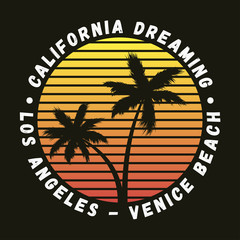 California, Los Angeles, Venice Beach - typography for design clothes, t-shirt with palm trees. Graphics for print product, apparel. Vector illustration.