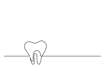 one line drawing of isolated vector object - human tooth