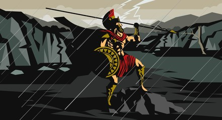 spartan soldier with spear in battle