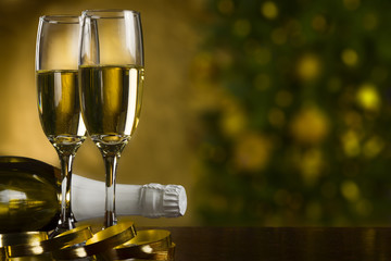 Champagne, christmas tree background