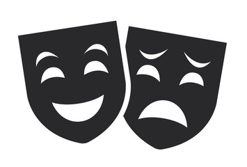 theater mask symbols vector set, sad and happy concept