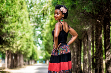 portrait of beautiful african woman in the park