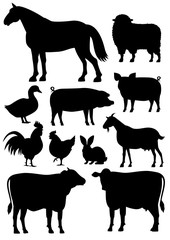 Farm animals silhouette set