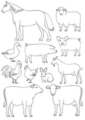 Farm animals line art set