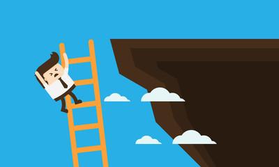 Businessman falling from a ladder on a cliff, Businessman Cartoon mascot concept vector