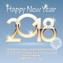 Vector Happy New Year 2018 greeting card with Alphabet set of Letters, Symbols and Numbers. Royal Font contains Graphic Style