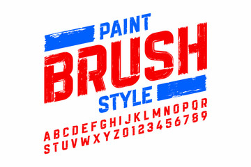 Paint brush style modern font, alphabet and numbers
